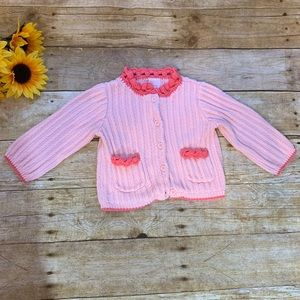 Girls pink cardigan sweater. Size 6-12 months